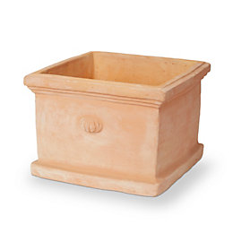 Mali Square Terracotta White Washed Pot (H)250mm (L)350mm