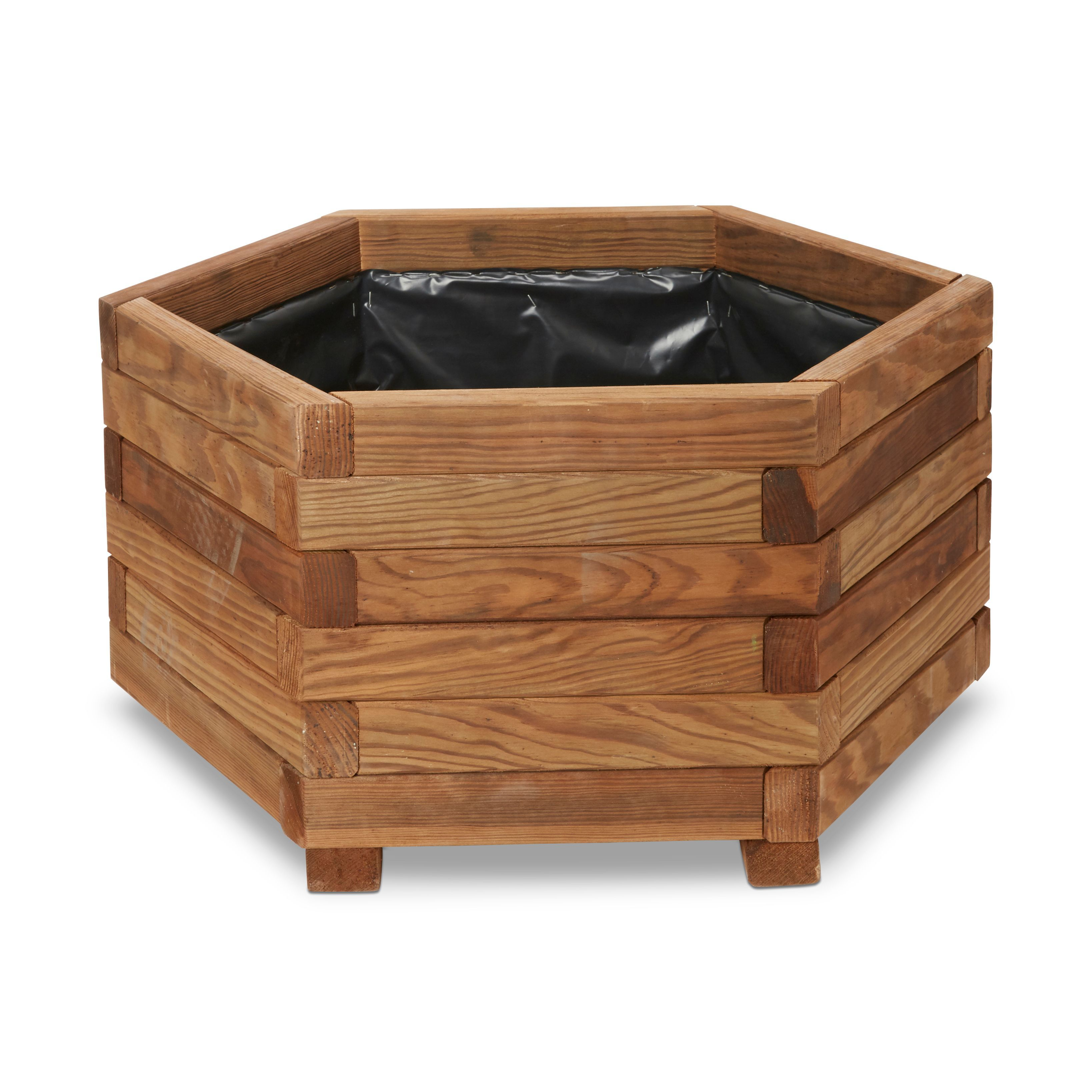 Bopha Hexagonal Wooden Planter H 300mm Dia 600mm