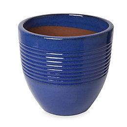 Tiwlip Round Glazed Blue Pot (H)310mm (Dia)330mm