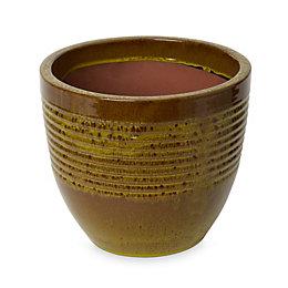 Tiwlip Round Glazed Green Pot (H)245mm (Dia)270mm