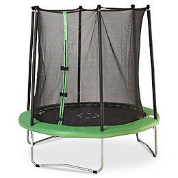 Green 8 ft Trampoline & enclosure