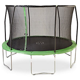 Green 12 ft Trampoline & enclosure
