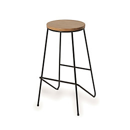 Maloux Black Bar stool (H)710mm (W)400mm
