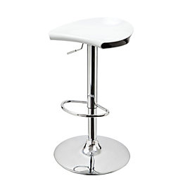 Jamala White & Chrome Effect Bar Stool (H)770mm