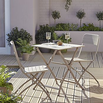 Aronie bistro set of garden table and chairs in small garden
