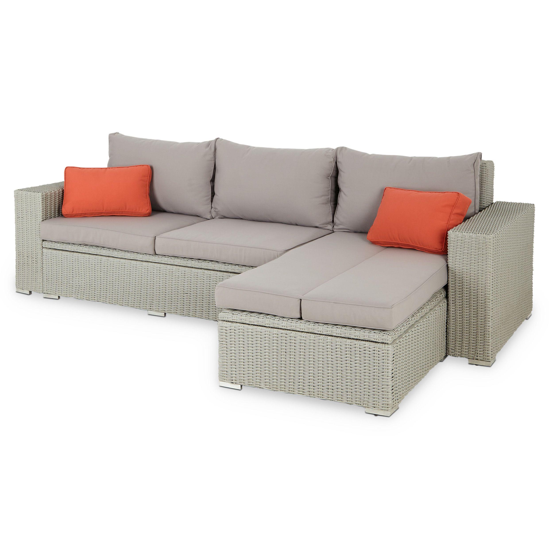 Gabbs Grey Rattan Effect Garden Sofa