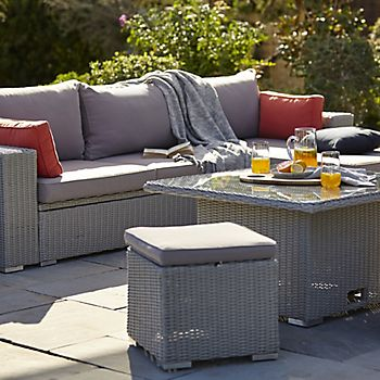Gabbs Rattan Effect Garden Sofa with cushions and throw