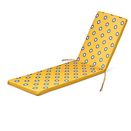 Kinaros Grey & yellow Spot Sunlounger cushion