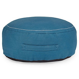 Rural Charcoal ball Indigo Pouffe