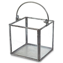 Blooma Galvanised Square Glass & steel Votive