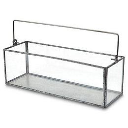 Blooma Galvanised Rectangle Glass & steel Votive