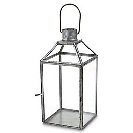 Blooma Galvanised Glass & steel Lantern