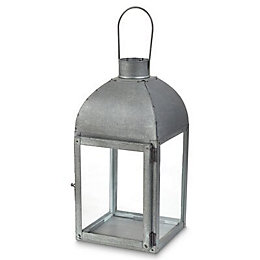 Blooma Galvanised Glass & steel Lantern, Small