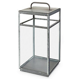 Blooma Galvanised Glass & steel Floor lantern