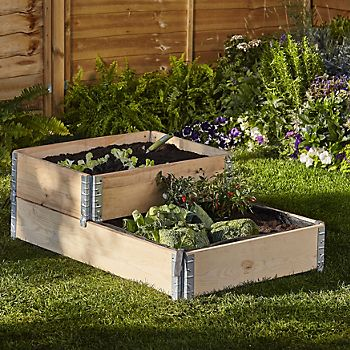 Verve Pine Small Stackable Raised Bed growing vegetables in the garden