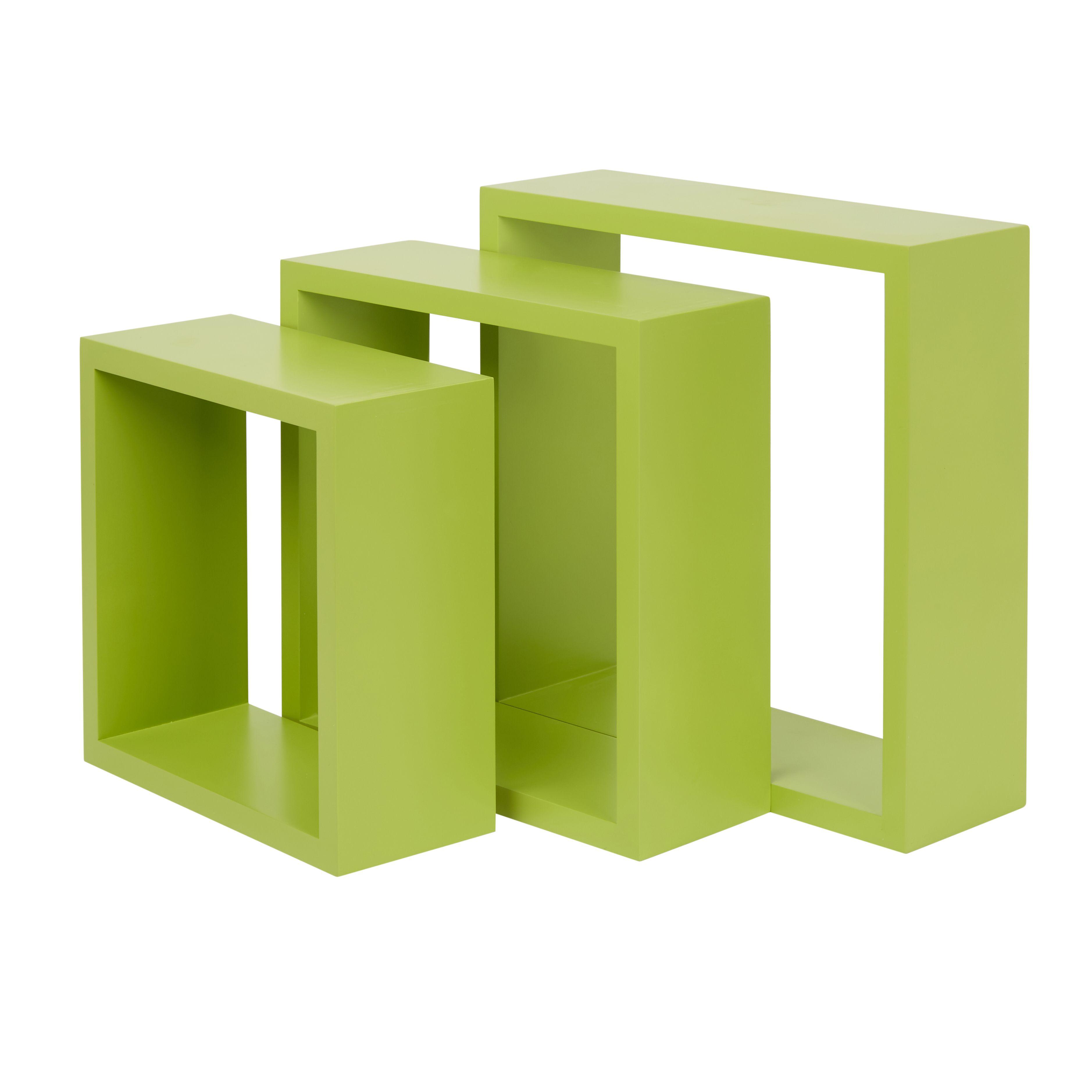 Form Rigga Green Cube shelves, Set of 3 | Departments | DIY at B&Q
