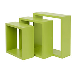 Form Rigga Green Cube shelves, Set of 3