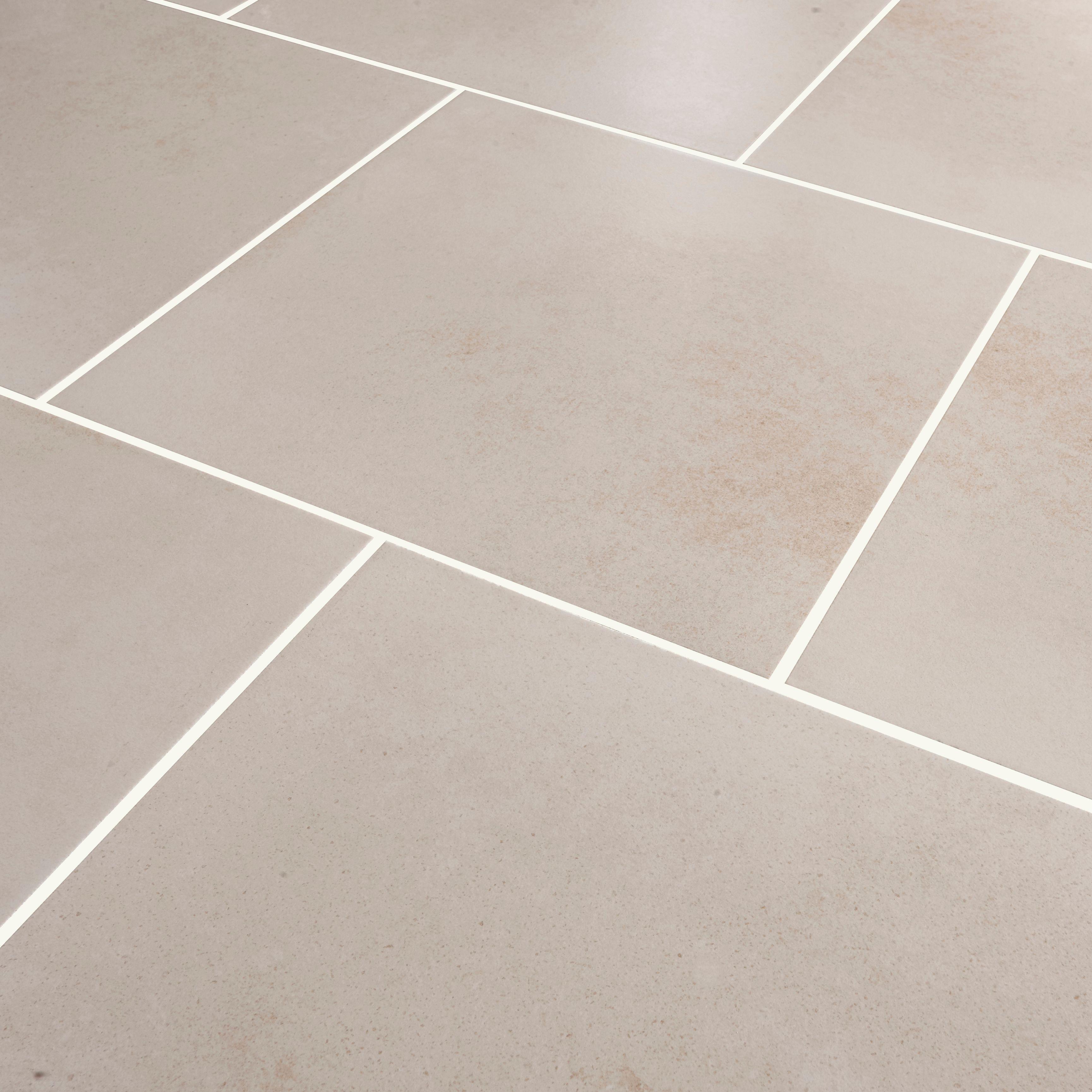 Konkrete Ivory Concrete effect Modern Porcelain Floor tile,