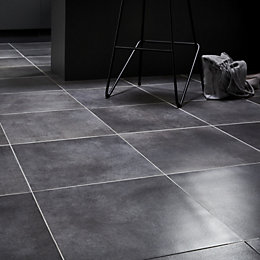 Konkrete Grey Concrete effect Modern Porcelain Floor tile,