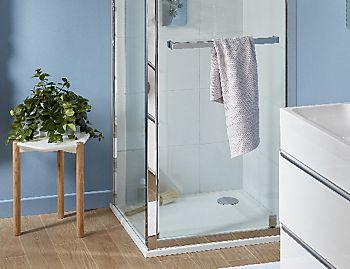 Cooke & Lewis Beloya square shower enclosure with corner sliding door