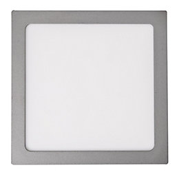 Colours Silver LED Fixed Square Recessed downlight 17.5