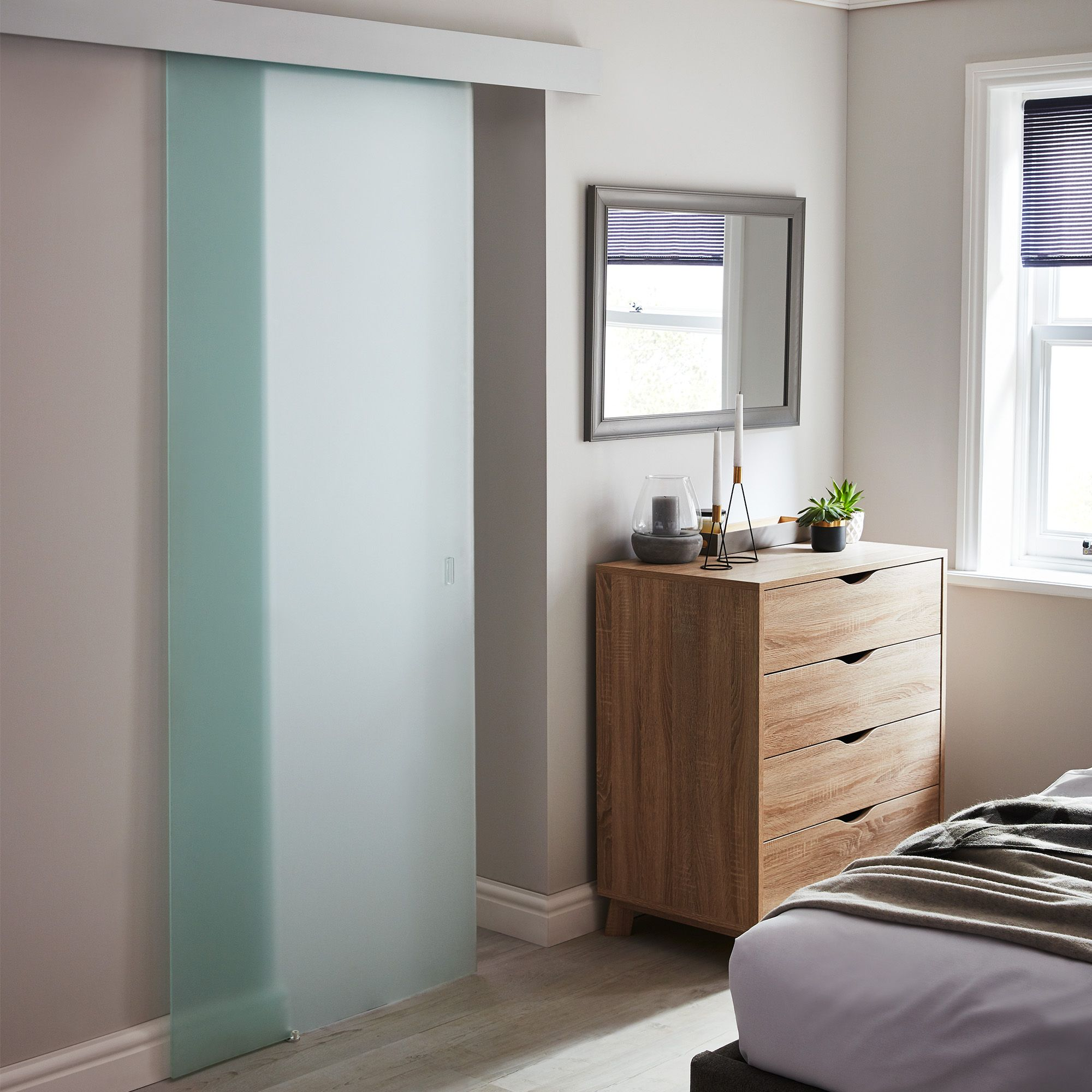 Frosted glass Internal Sliding door, (H)2040mm (W)830mm