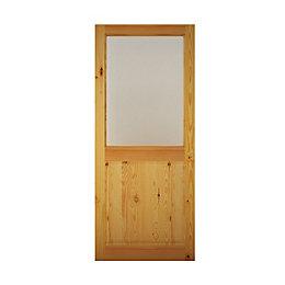 2 panel Pine veneer Glazed Back door, (H)1981mm