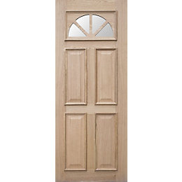 Carolina Oak veneer Glazed External Front door panel,
