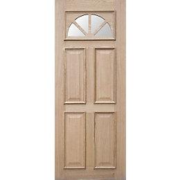 Carolina Oak veneer Glazed External Front door panel,