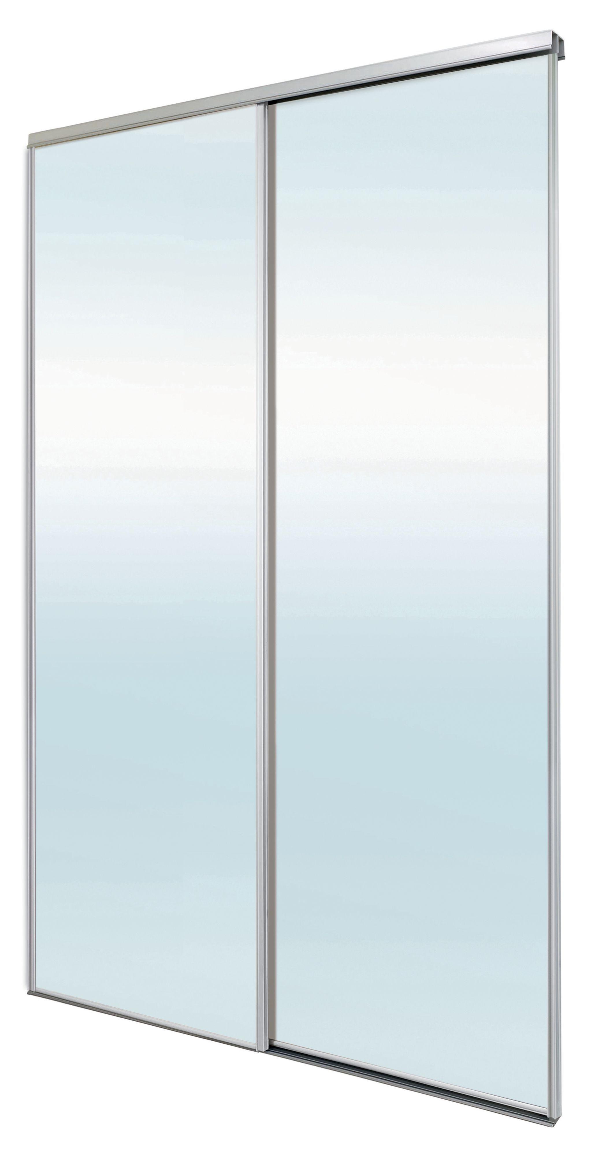 Blizz Mirrored Sliding Wardrobe Door Kit H2260 Mm W1500mm Pack