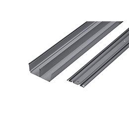Grey Sliding Wardrobe Door Track (L)2700mm, Pack of