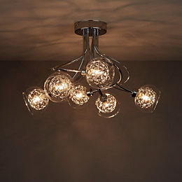 Carmenta Chrome Effect 6 Lamp Ceiling Light