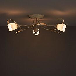 Honos Cream & gold Brushed 3 Lamp Ceiling