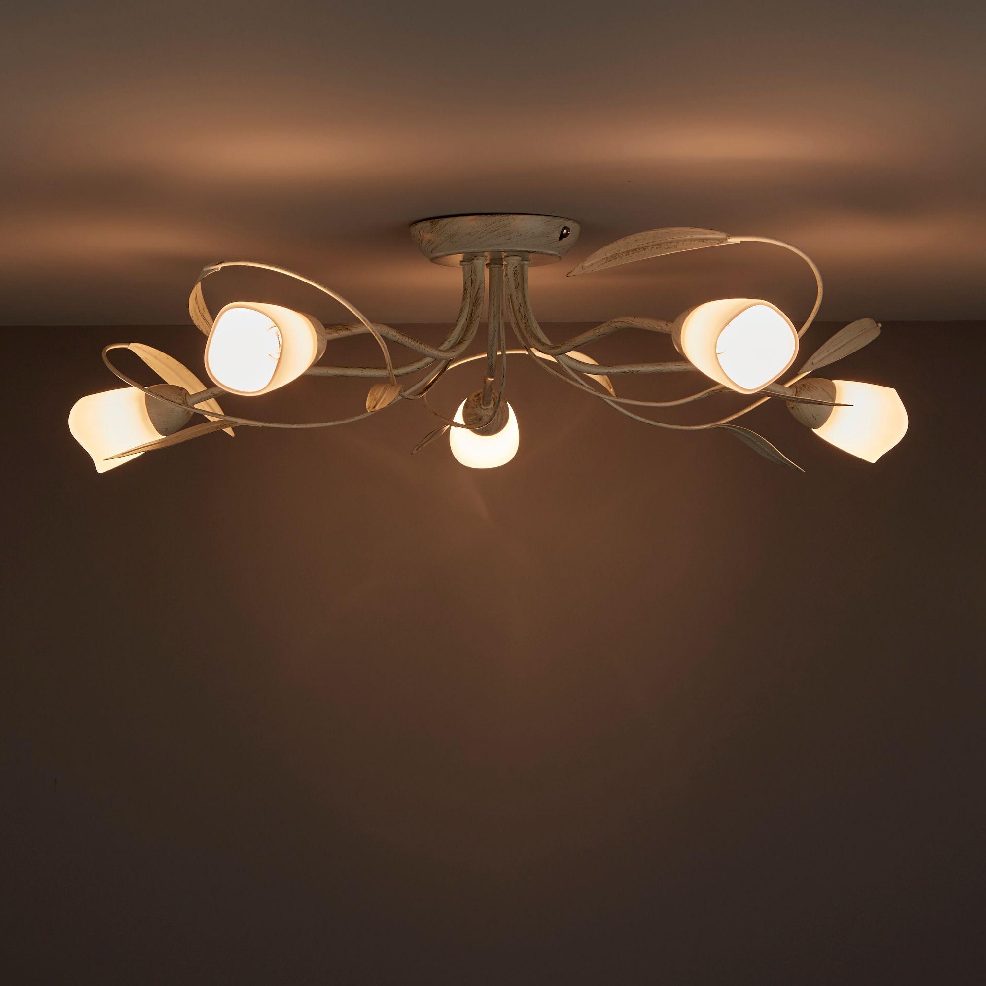 Honos Cream & gold Brushed 5 Lamp Ceiling