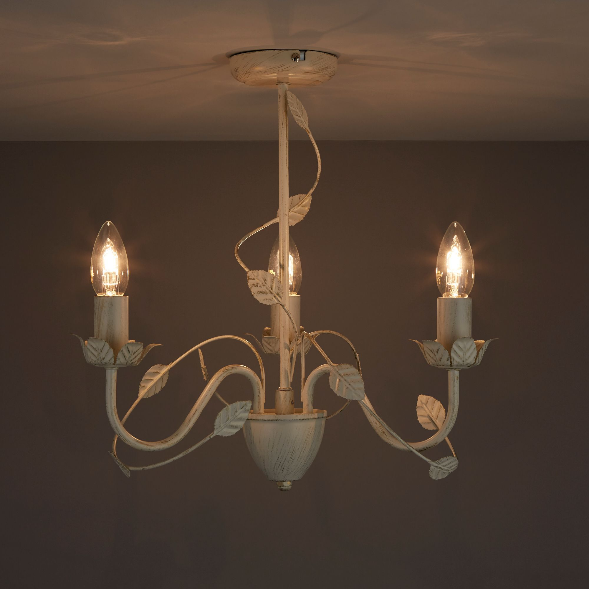 Lympha Cream & gold Brushed 3 Lamp Ceiling