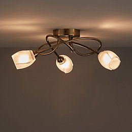 Egeria Antique Brass Effect 3 Lamp Ceiling Light