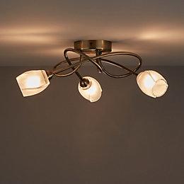 Egeria Antique Brass Effect 3 Lamp Ceiling Light