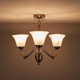 Dives Antique Brass Effect 3 Lamp Ceiling Light
