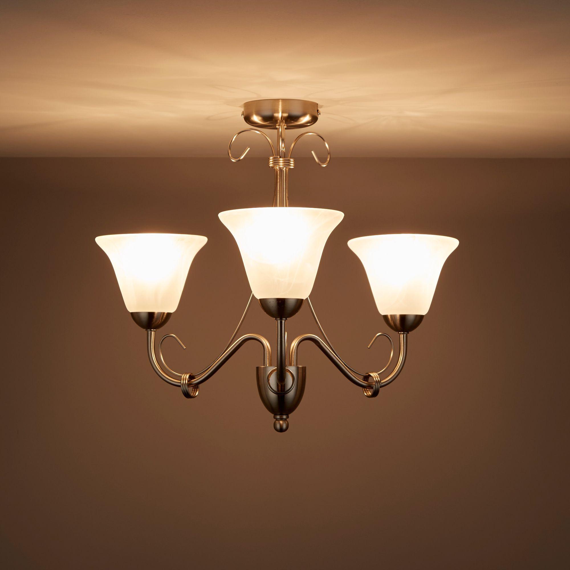 Dives Brushed chrome effect 3 Lamp Ceiling light