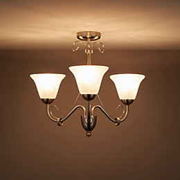 Dives Brushed chrome effect 3 Lamp Ceiling light