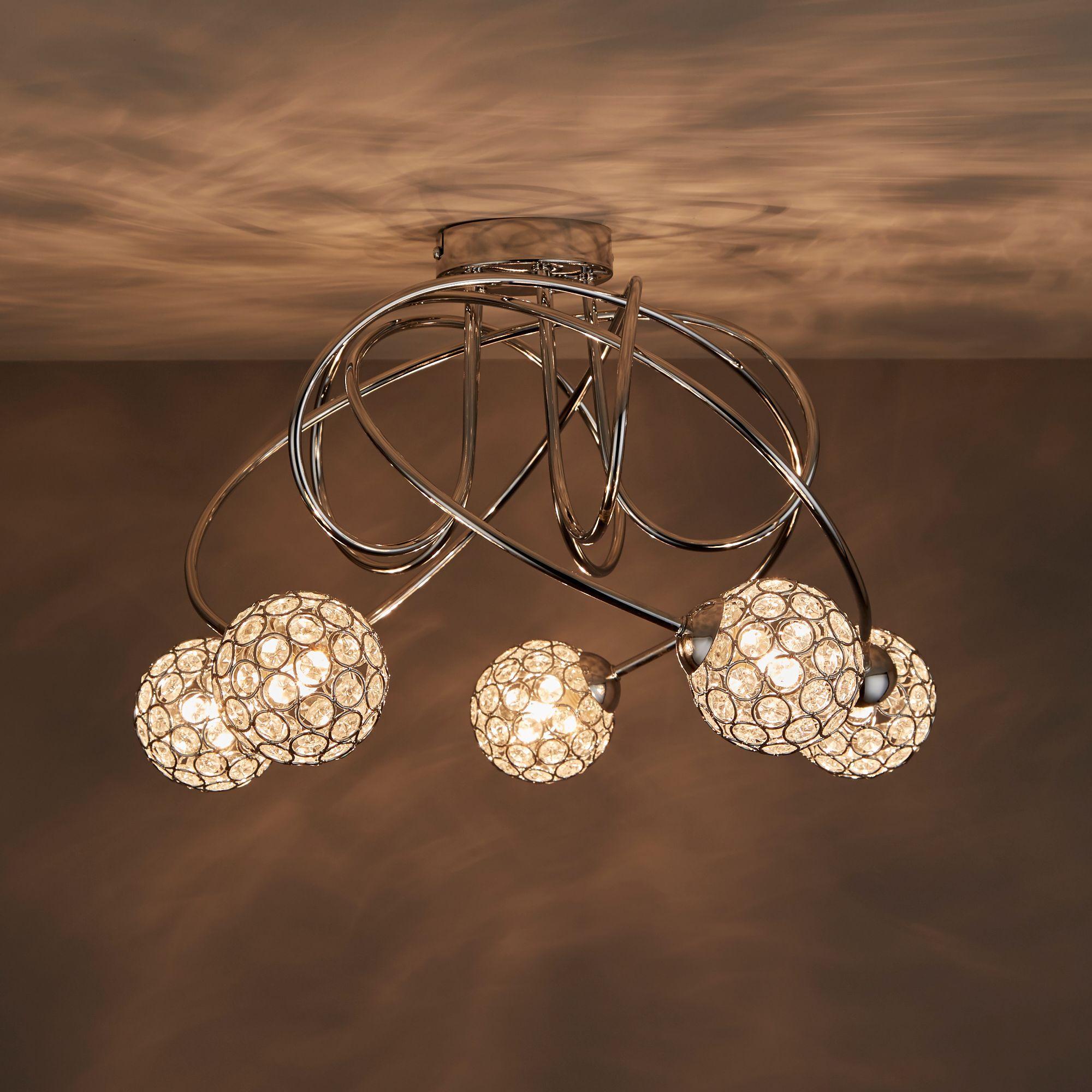 Mantus Chrome effect 5 Lamp Ceiling light