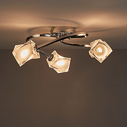 Glacies Chrome effect 3 Lamp Ceiling light