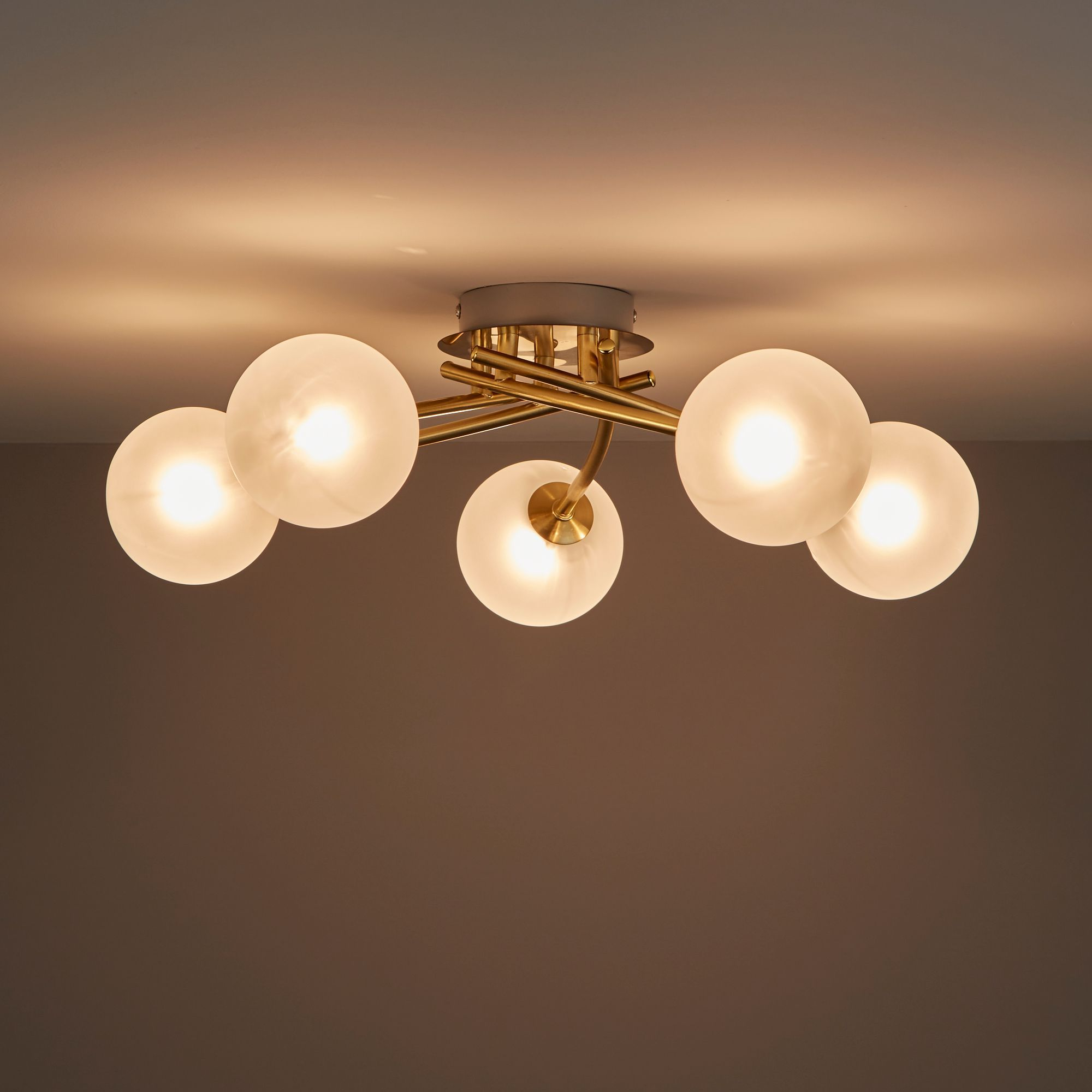 Pila Brushed Gold Effect 5 Lamp Ceiling Light
