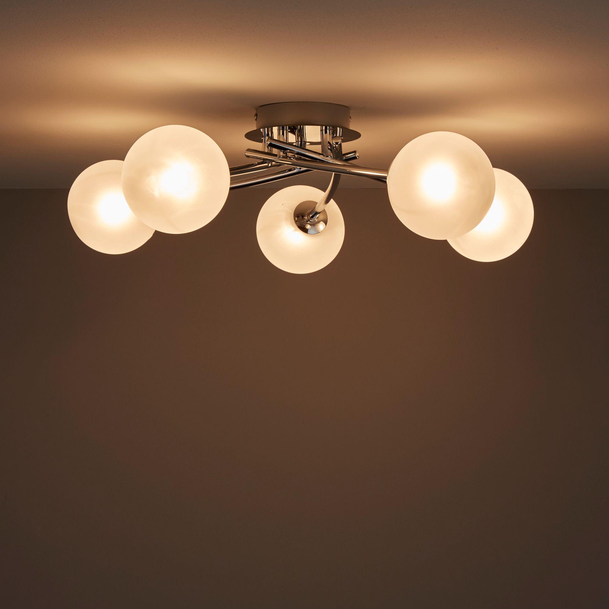 Pila Chrome effect 5 Lamp Ceiling light