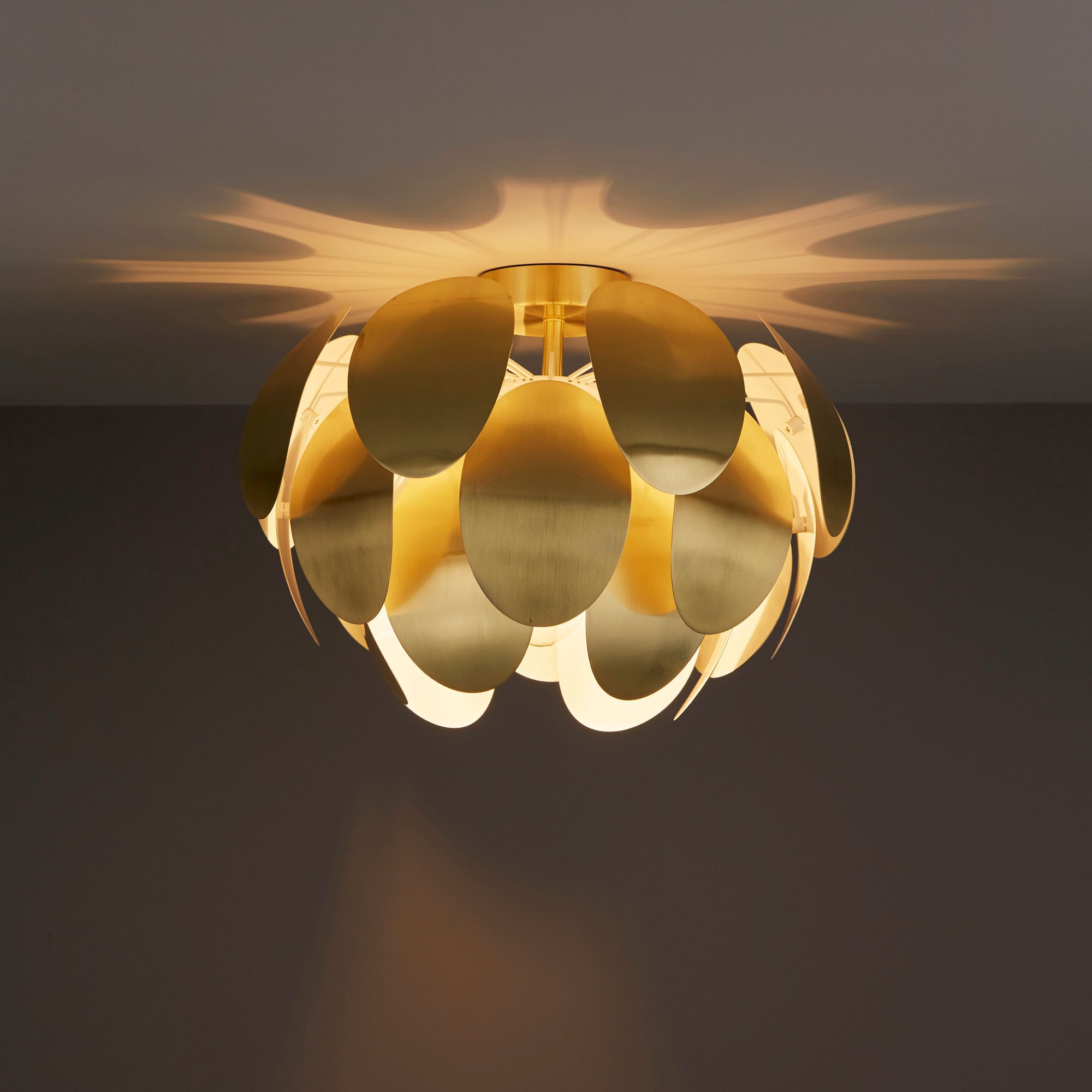 Fleurus Brushed gold effect Ceiling light