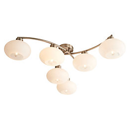 Tentacles Brushed chrome effect 6 Lamp Ceiling light