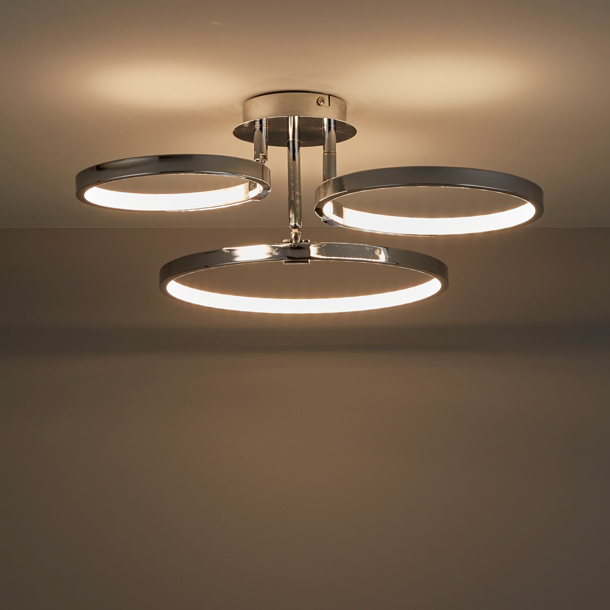 3 Bulb Ceiling Light: Annellus Chrome Effect 3 Lamp Ceiling Light
