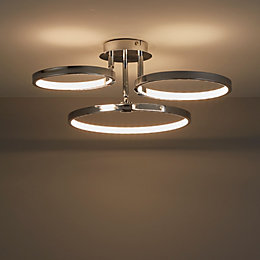 Annellus Chrome Effect 3 Lamp Ceiling Light
