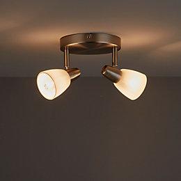 Aphaea Brushed Chrome Effect 2 Lamp Spotlight