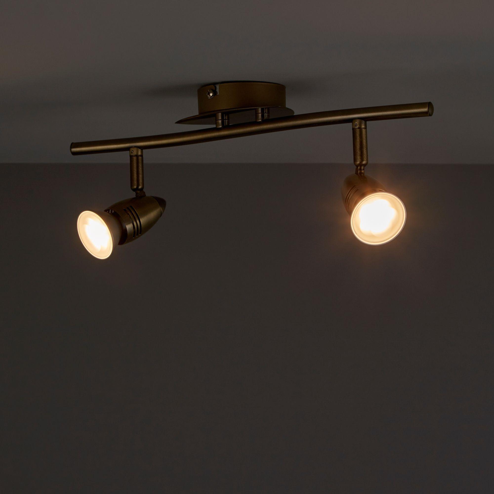 Aspis Antique brass effect 2 Lamp Spotlight